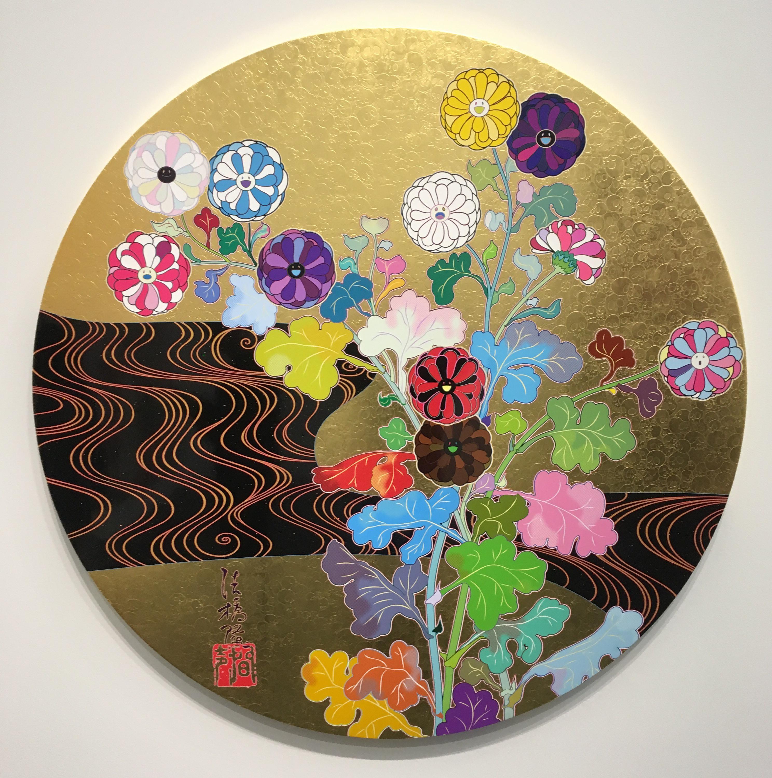 "Takashi Murakami's ""Kensei Korin Gold,"" a circular screenprint with multicolored leaves and flowers."