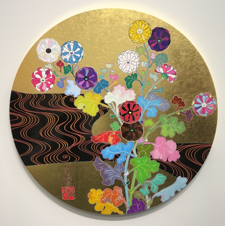 "Takashi Murakami's ""Kensei Korin Gold,"" a circular screenprint with multicolored leaves and flowers."